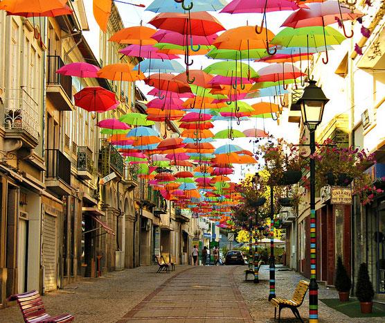 Agueda Umbrellas 6 - Colorful Umbrella  Covers Street in Agueda, Portugal