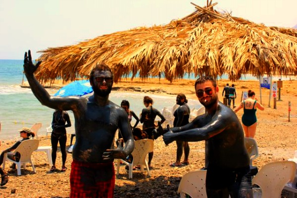 Covered in Dead Sea mud