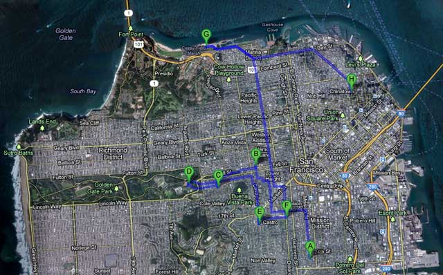 The map of our one-day San Francisco neighborhood adventure.